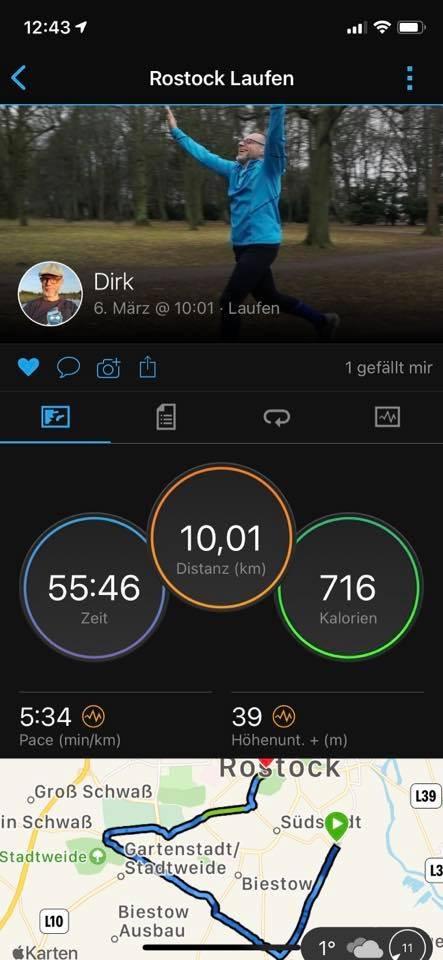 Screenshot meines 10km-Laufs am 06.03.2021
