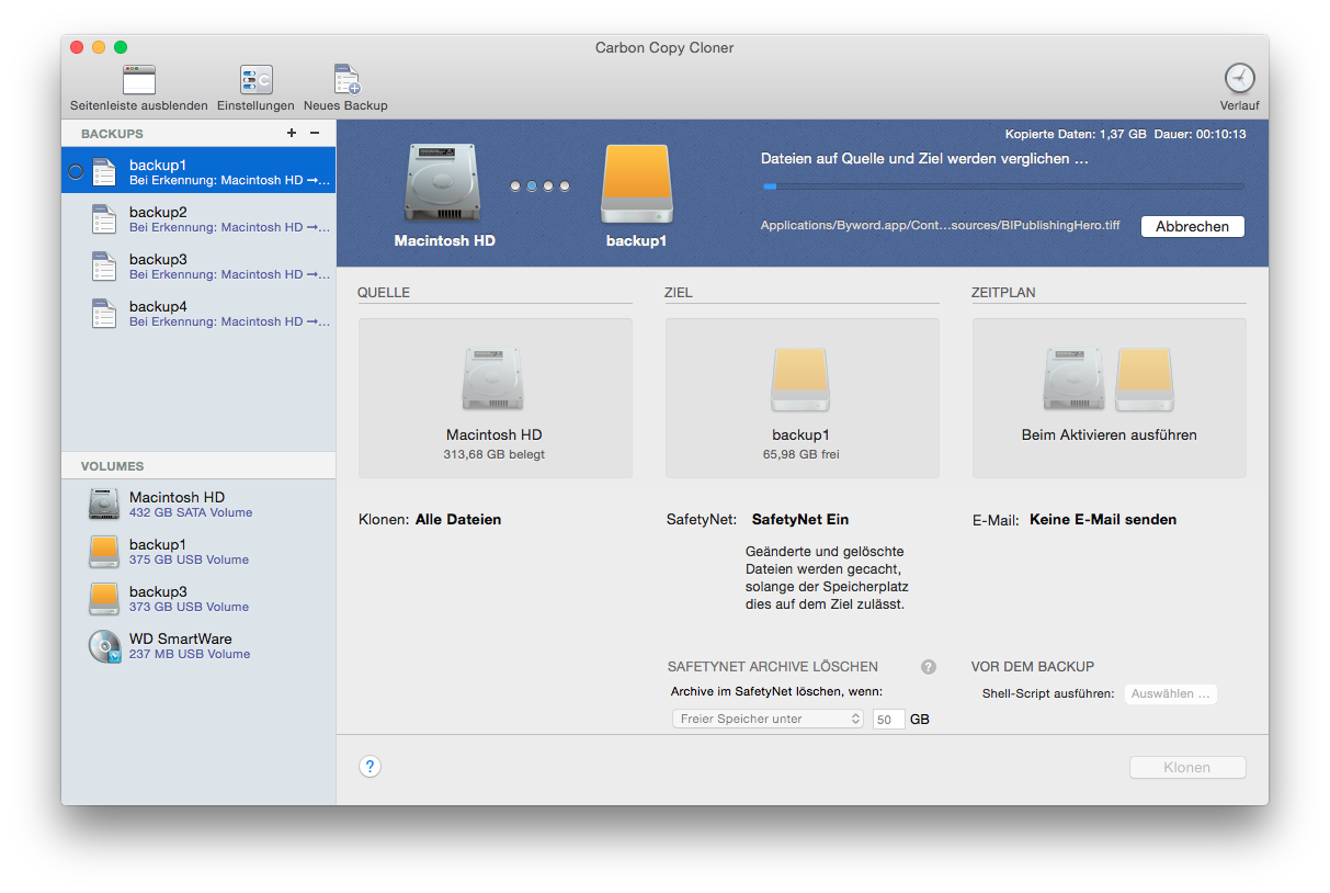 Backup mit Carbon Copy Cloner